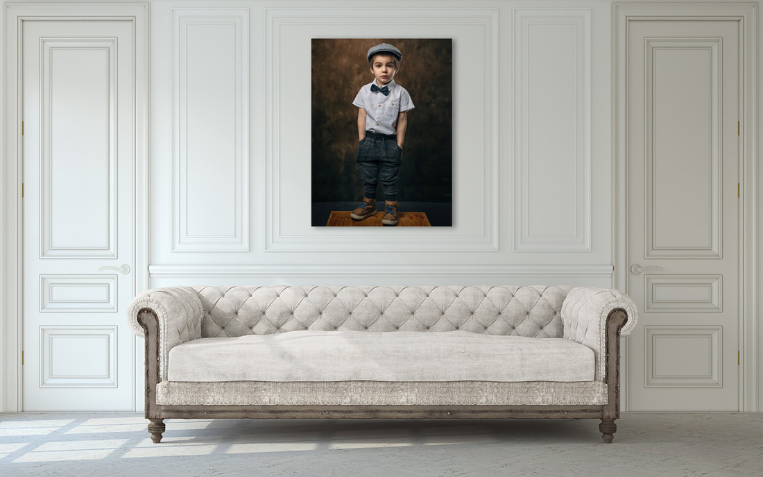 canvas print on living room wall of boy